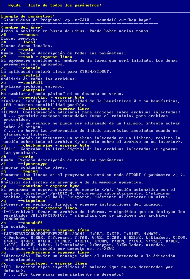 Parámetros de la línea de comandos de Avast