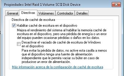 Javier Mendiburu | Imagen mostrando la directiva de caché de escritura de un disco de Windows
