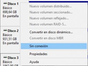 Desactivar un disco desde el Administrador de discos de Windows