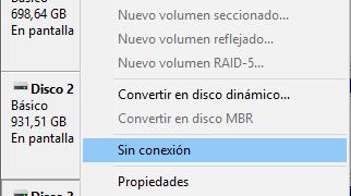 Conectar y desconectar discos desde la línea de comandos