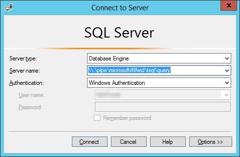 Conexión a WID desde Microsoft SQL Server Management Studio